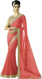 kuldevi fashion plain peach  georgette saree with blouse
