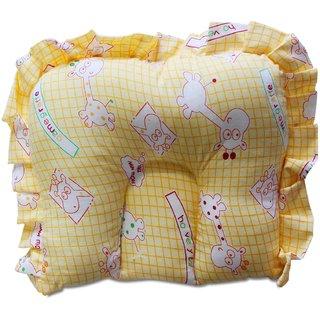 Wonderkids Giraffe Print Baby Cotton Pillow - Yellow (0 to 6 Months)