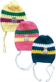 Jisha fashion Woolen Cap for boys and girls (3 - 7 Years) pack of 3