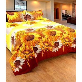 Angel homes Collections Multicolor 3-D Double Bedsheet with 2 Pillow Covers