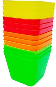 Adaspo 7.5 Cm Plastic Pot For Home  Outdoor Decoration ( Pack Of 12 )