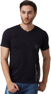 YAK YAK MEN'S BLACK VNECK T-SHIRT