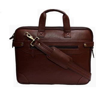 Home Story 15.6 inch Synthetic Sleek Faux Leather Laptop and Tablet Bag Brown Colour