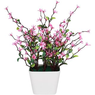 Adaspo Beautiful Artificial Wild Pink Srubs Plants With Melaimne Pot (Pink)