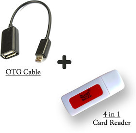 4 in 1 Card Reader + OTG Cable Combo (2 Pieces)