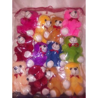 Valentine Set of 12 teddy bear (Best Valentine Gift) assorted colors size height 10 cm