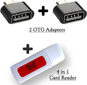 4 in 1 Card Reader + 2 OTG Adapter (3 Pieces)
