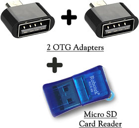 Micro SD Card Reader + 2 OTG Adapter (3 Pieces)