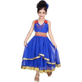 kbkidswear Girls Solid Design V-Neck Gown Dress