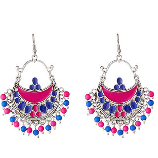 JewelMaze Rhodium Plated Meenakari Beads Afghani Earrings