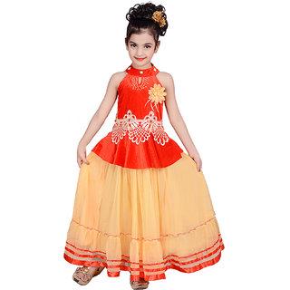 Buy Kbkidswear Girl'S Embroidered Design Round Neck Gown ...