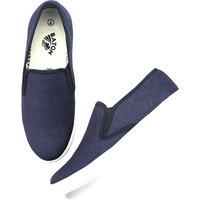 Baton Men's Blue & White Slip On Sneakers