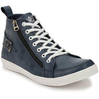 Baton Men's Blue & White Zip Sneakers