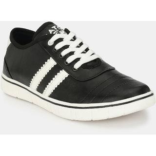 Baton Men's Black & White Lace-up Sneakers