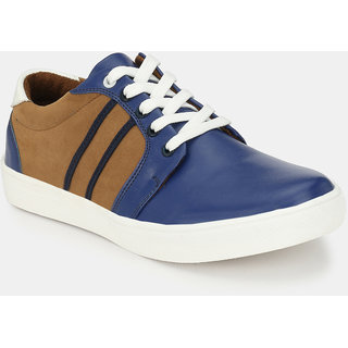 Baton Men's Blue & Brown Lace-up Sneakers