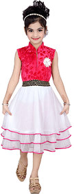 Kbkidswear Girl'S Self Design Collar Neck Gown Dress