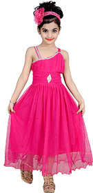 Kbkidswear Girl'S Solid Design Fashion Neck Gown Dress