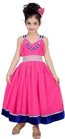 Kbkidswear Girl'S Solid Design V-Neck Gown Dress