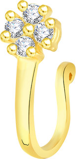 VK Jewels Gold Plated Alloy CZ American Diamond Pressing Nose Ring,Nose Pin for Women - [VKNR1031G]