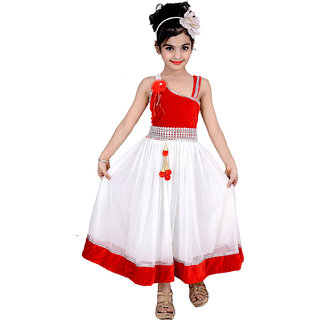 Kbkidswear Girls Solid Design Fashion Neck Gown Dress