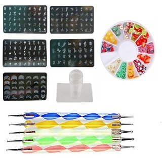 Royalkart Nail Art Stamping Kit With Silicone Stamper Dotting Tool (Multicolor)