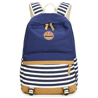 Bonmaro Stripes 25Litre Navy Blue Water Repellent Casual Canvas Backpack