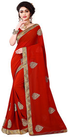 kuldevi fashion red designer georgette saree with blouse