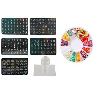 Royalkart Nail Art Stamping Kit Jumbo 5 Image Plates With Silicone stamper 3D Fruit Clay Wheel (Multicolor)