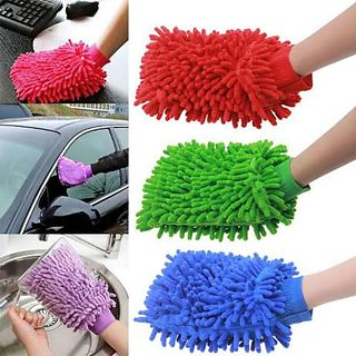 Car cleaning microfiber glove, (set of2), use car cleaning, Kitchen cleaning, Bike cleaning, safe ur hand inside glove,
