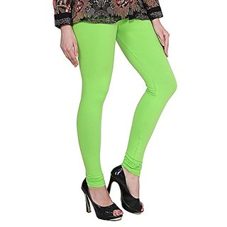 255babcccc Alishah Cotton Lycra Churidar Leggings For Womens And Girls Neon Parrot  Green