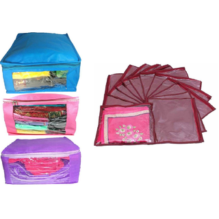 DIMONSIV Designer Combo of 3 Pcs Set and Single Packing 12 Pcs Saree Cover