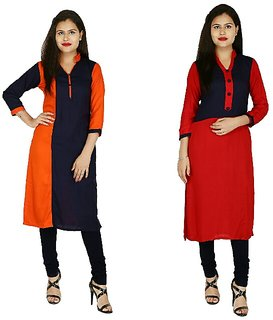 Boutique Ever Blue,Orange color block kurti and Red,Blue Kurti combo set in rayon fabric