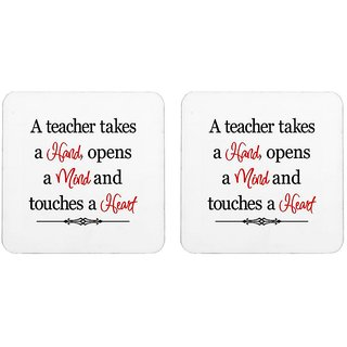 Mooch Wale A Teacher Takes Hand Mind Heart  Square Wooden Coaster