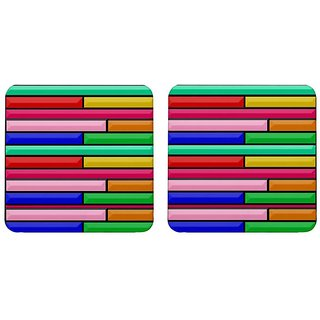 Mooch Wale Colorful Blocks Pattern  Square Wooden Coaster