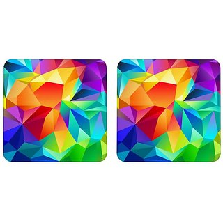 Mooch Wale Colorful Geometric Patterns  Square Wooden Coaster