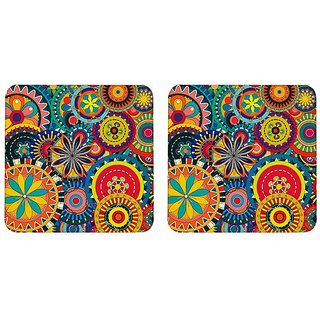 Mooch Wale Colorful Indian Rangoli Patterns  Square Wooden Coaster