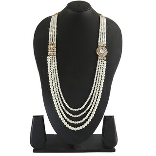 Anuradha Art Gold Finish Stylish Side Pendant With Sparkling Stones Designer Traditional Necklace Groom Moti Mala For Men