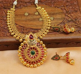 Designer Gold Plated Multi Colour Necklace set