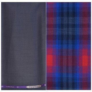 Kundan Sulz Gwalior Men's Executive Pure Cotton Checks Shirt & Fancy Rusty Grey Color Trouser Fabric Combo Set ( 1 Pant Shirt Piece for Men )
