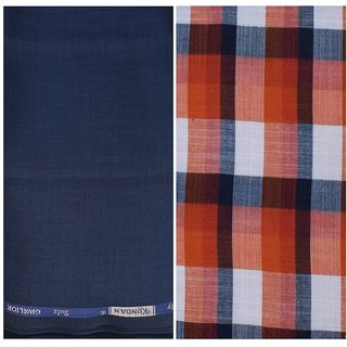 Kundan Sulz Gwalior Men's Executive Pure Cotton Checks Shirt & Fancy Navy Blue Color Trouser Fabric Combo Set ( 1 Pant Shirt Piece for Men )