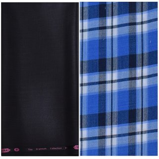 Kundan Sulz Gwalior Men's Executive Pure Cotton Checks Shirt & Fancy Black Color Trouser Fabric Combo Set ( 1 Pant Shirt Piece for Men )