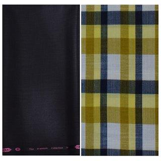 Kundan Sulz Gwalior Men's Executive Pure Cotton Checks Shirt & Fancy Black Color Trouser Fabric Combo Set ( 1 Pant Shirt Piece for Men )