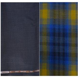 Kundan Sulz Gwalior Men's Executive Pure Cotton Checks Shirt & Fancy Dark Brown Color Trouser Fabric Combo Set ( 1 Pant Shirt Piece for Men )