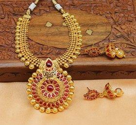 Designer Gold Plated Pink Necklace set