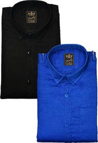 Freaky Blue Black Plain Cotton Blend Regular Collar Slim Fit Casual Shirt For Men Pack of 2