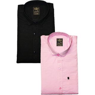 Freaky Mens Plain Black Pink Casual Slimfit linen Shirts