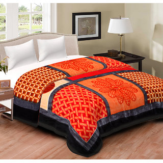 Spangle Printed Multicolor Mink Double Bed Blanket