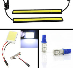 Autozot Combo of COB LED DRL Daytime Running Light, COB Roof Dome Light, 9 SMD Blue T10 W5W Wedge Parking Bulbs
