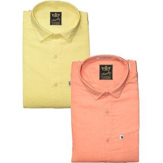 Freaky Mens Plain Lemon Peach Casual Slimfit linen Shirts