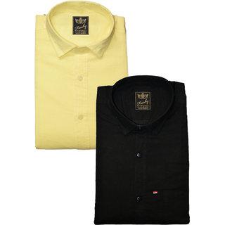 Freaky Mens Plain Lemon Black Casual Slimfit linen Shirts